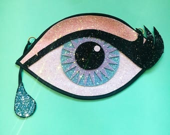 Pastel Glitter Eye Clutch Handbag