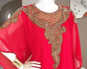 Ruby Red and Gold Embellished Caftan