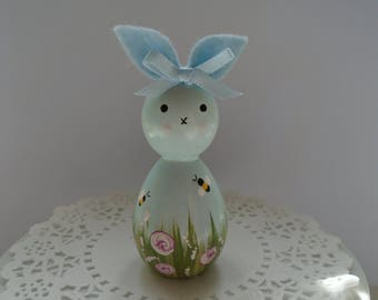 NEW*** Hand Painted Wooden Bunny Peg Doll - Rose Garden Theme