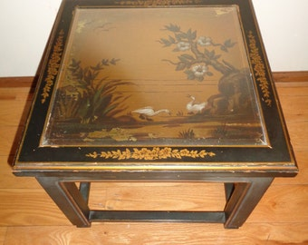 Vintage Asian Accent Table, Chinoiserie Style with a Hand Painted Scene of Laughing Ducks on a gold leaf background with wonderful patina