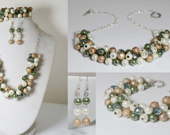 Sage, Taupe and Off White Pearl Cluster Jewelry Set, Chunky Pearl Jewelry, Sage & Beige Pearl Bracelet, Pearl Cluster Necklace, Sage Wedding
