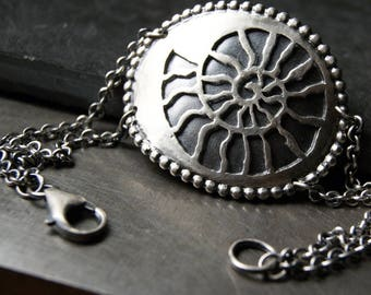 Ammonite Cuff and Chain Bracelet in Sterling Silver, handmade, ooak, nautilus bracelet