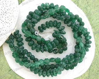 3 Strands Sale Beads, Destash Beads, Green Aventurine Semi Precious Stone Beads, Hand Crafted Carved Stone Beads, Destash Supplies  DS-879
