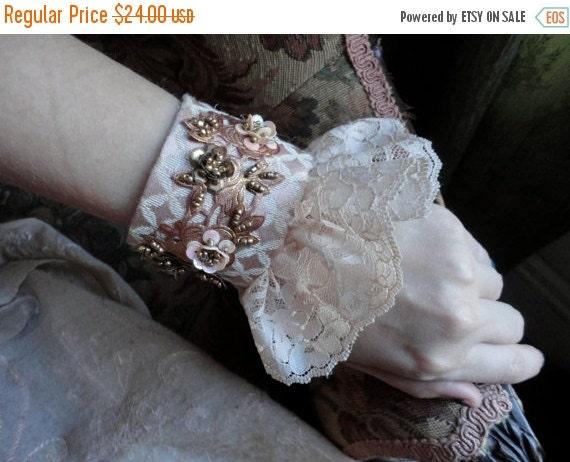 ON SALE Lace Cuff Bracelet, Fabric Cuff, Wedding Statement Romantic Bracelet, Handmade Bracelet, Lace Bracelet, Marie Antoinette