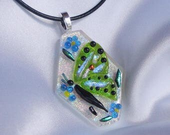 FORGET ME NOT is a butterfly fused glass jewelry pendant with necklace