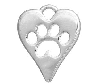 1 Heart Paw Print Charm - Antique Silver - 14x11mm -  High Quality Copper - Ships IMMEDIATELY from California - SC1338