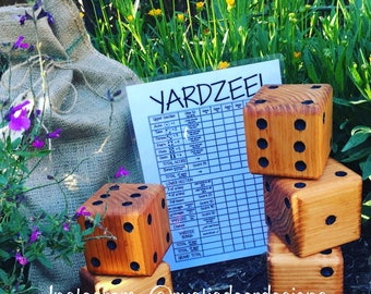 Large Yard dice, YARDZEE, yahtzee, back yard dice, wedding lawn game , camping, outdoor games, cook off, BBQ, party favor, gift, wood dice