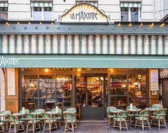 Paris Photography - Café La Mascotte in Montmartre, Fine Art Photography Print, French Home Decor, Large Wall Art