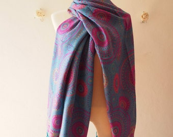 Boho Scarf Blue Pink Yellow Hipster Hippie Winter Summer Scarf Bohemian Style Scarf Presley Traditional Artisan Style