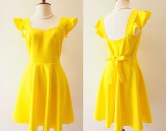 OLIVIA - Lemon Yellow Dress La La Land Ruffle Sleeve Sweetheart Dress - Back Zipper - Bridesmaid Prom Party Cocktail Dress Yellow Sundress