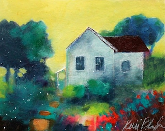 "Colorful Abstract Landscape Painting, Country Scenery, ""Farmhouse in the Afternoon"" 8x10"""