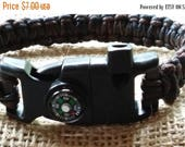 Etsy On Sale Survival Bracelet,With Floating Compass,Spark Stick and Striker,And Emergency Whistle Built into the Sturdy ABS Side Release Bu