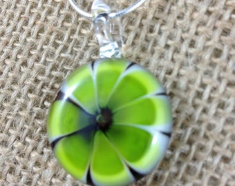Lime Green Flower Lampwork Necklace