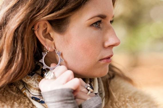 SILVER TRIBAL EARRINGS- Sacred Geometry- Star Earrings- Tribal- Ethnic Jewellery- Silver Earrings- Statement Earrings- Stocking Filler
