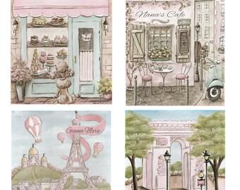 "Nursery Prints, Set Of 4 Personalized Girl Baby Shower Gift, Blush Pink Shabby Chic Paris Theme Nursery Wall Decor, 6 Sizes - 5x7"" To 24x36"""
