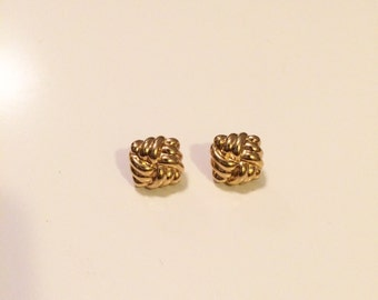 1990s Gold Basket Weave Earrings