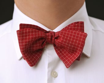Classic / Wedding / Casual Red checked SELF TIE bow tie