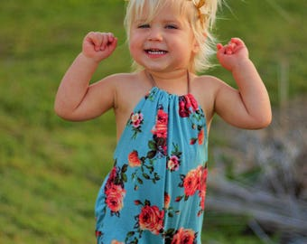 NEW!! Blue Floral Baby Romper, Girls Romper, Halter, Halter Top Romper, Floral Romper, Floral Printed, Toddler Fashion
