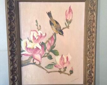 Oil on Canvas Bird on Magnolia Tree Branch