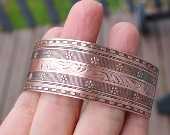 Ornate Vintage Wide 100% Copper Cuff Bracelet