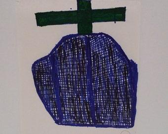 George Paul Kornegay Folk Art Dream Painting Church Cross Abstract Paper Drawing Outsider American Artist Vintage 90s Art Brut