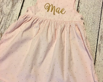 Monogram corduroy dress in pink and gold, pink and gold birthday dress, pink and gold dress, corduroy jumper, pink corduroy dress