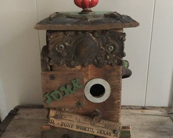 Large junky birdhouse home decor altered art birdhouse from found objects