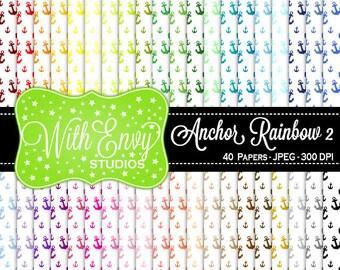 SALE  Rainbow Anchors Digital Scrapbook Paper Pack - Anchor Paper Set - Anchor Scrapbook Paper - Rainbow Scrapbook Paper - Nautical Paper