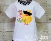 Boys Easter Chick Magnet Appliqued Shirt, Easter Chick Appliqued Shirt, Chick Easter Shirt Chick Magnet with Sunglasses for Boys
