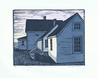 Island Light Block Print