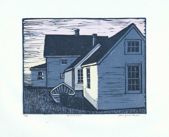 Island Light Block Print