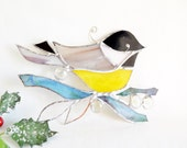 Stained Glass Bird The Black Capped Chickadee Stained Glass Chickadee Gift For Mom Christmas Gift Home Decor Suncatcher Ready To Ship
