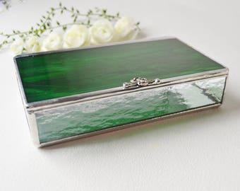 Emerald Green Glass Box, Glass Box, Glass Display Box, Glass Jewelry Box, Jewelry Box, Gift For Girlfriend, Bridesmaid Gift