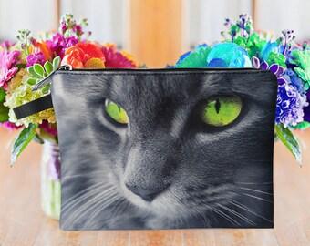 Cat pouch, cat purse, cat clutch, cat lover pouch, cat portrait pouch, cat makeup bag MK1601