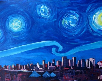 Starry Night in Edmonton Canada - Van Gogh Inspirations in Alberta - Fine Art Print - Original Available