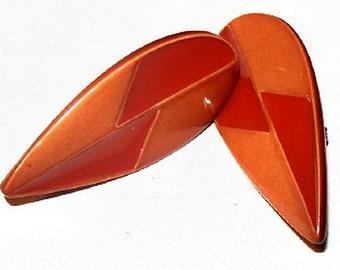 "Orange Red Clip On Earrings Enamel Painted Modern Fashion 1 1/4"" Vintage"