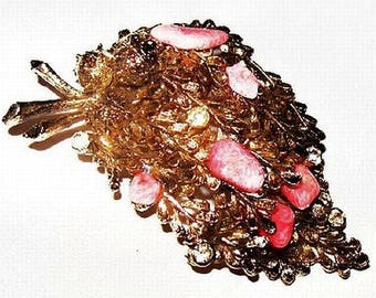 """Natural Red Coral Chip Rhinestone Brooch Gold Leaves 3 Layers 2 1/2"""" Vintage"""