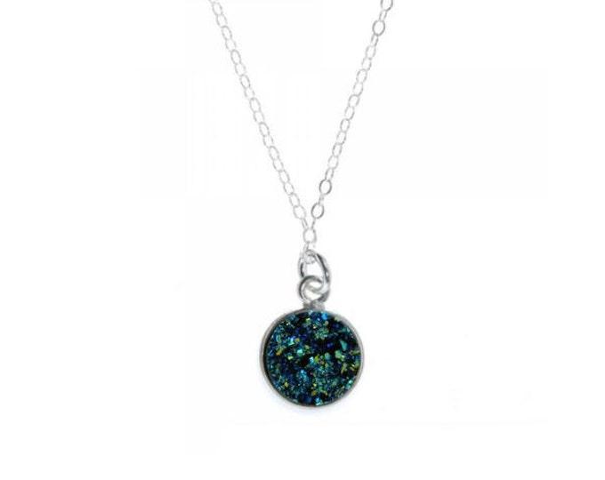 12mm Ocean Blue Druzy Necklace