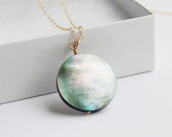 Black mother of pearl shell disc pendant 14k gold filled long chain necklace