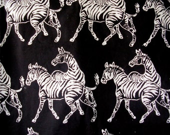 Batik Zebra Print Designer Fabric Remnant One and Three quarters Yard Long Rare