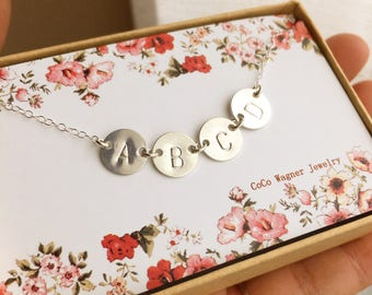 Mother's Day Gift, Personalized Sterling Silver Discs Necklace, Initials Necklace, Three Discs and more, Custom Necklace, Everyday Jewelry