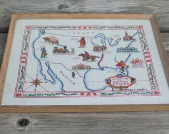 Vintage Antique 1950s United States Map Embroidery Sampler Needlework Framed