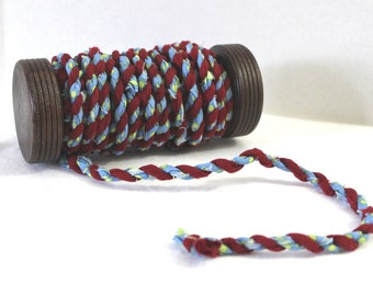 7 1/2 Feet of Handmade Boho Twisted Fabric Cord and Wooden Spool Light Blue and Dark Red Fiber Art Jewelry Supplies