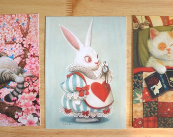 "Cat and Rabbit 5"" x 7"" Postcard Set"