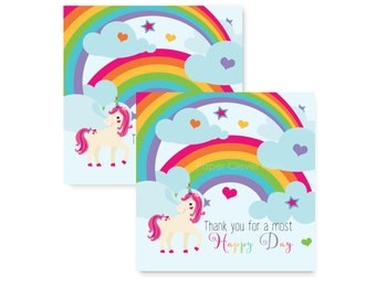 Unicorn Party Favor Tag - Girls Birthday - Stickers - Rainbow Gift Labels - Colorful Label - Gift Tags - Printable - Printed (PINKUNITAG)