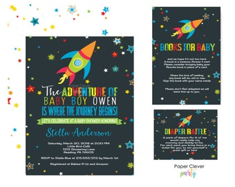 Colorful Outer Space Baby Shower Invitation Kit - Boys Party Bundle - Rocket Adventure - Personalized - Printable with Book Insert & Raffle