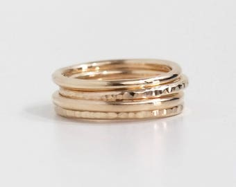 Hammered and Polished 14K Solid Yellow Gold Stacking Ring Set, Stackable Rings, Gold Band, Boho Ring, Gold Rings