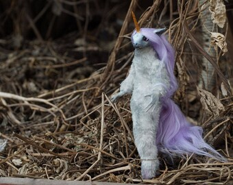 to order Poseable gray  Lavender furry Unicorn OOAK original Fantasy Soft Sculpture Art Doll
