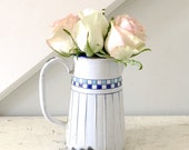 Vintage Enamel Pitcher Blue and White