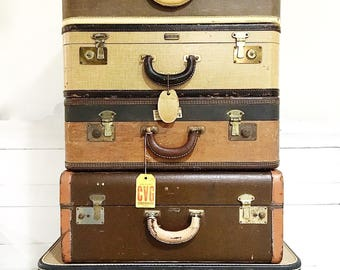 Vintage Suitcase Luggage Brown Tan Leather Handle Shabby with Luggage Tags Photo Prop
